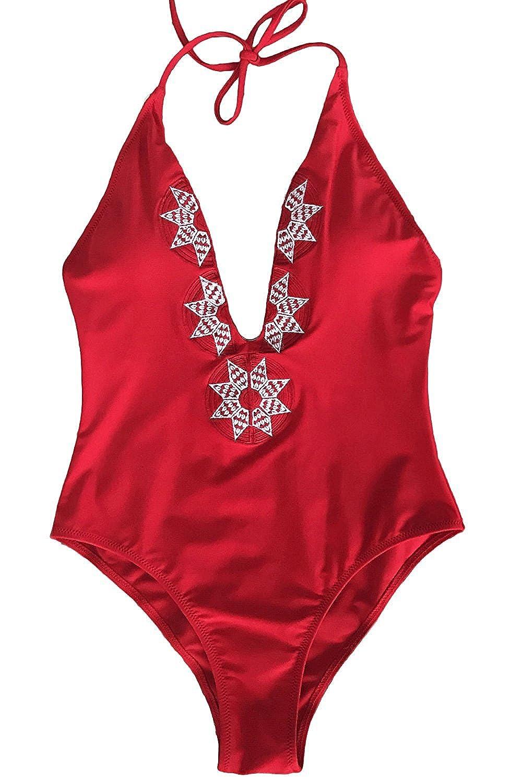 レディース可愛いホワイトビンテージローズ刺繍ワンピース水着ビーチ水着 B071W2X6N8
