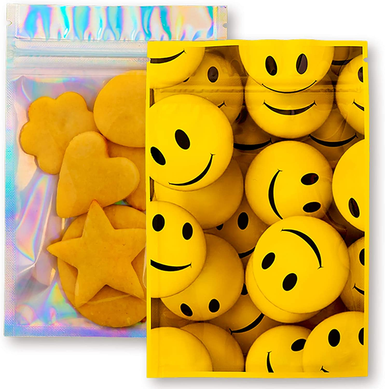 """Resealable Bags Ziplock Mylar Set -100 Pcs Water-Proof Smell-Proof Foil Bags 4"""" X 6"""" Size Packaging Supplies Cute Design Happy Face Pouches for Food Storage Snack Coffee Bracelet Eyelash Lip Gloss"""