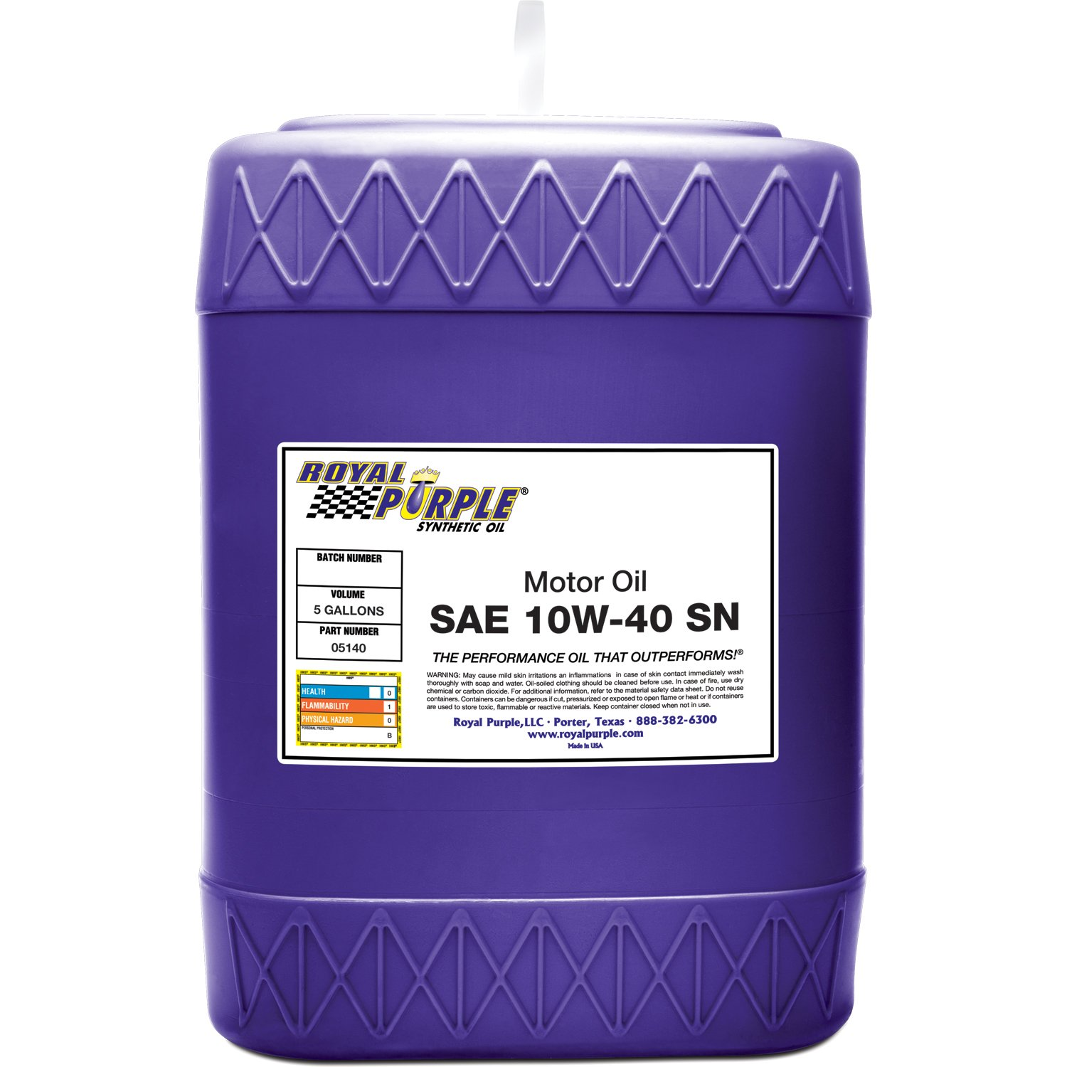 Royal Purple 05140 API-Licensed SAE 10W-40 High Performance Synthetic Motor Oil - 5 gal.
