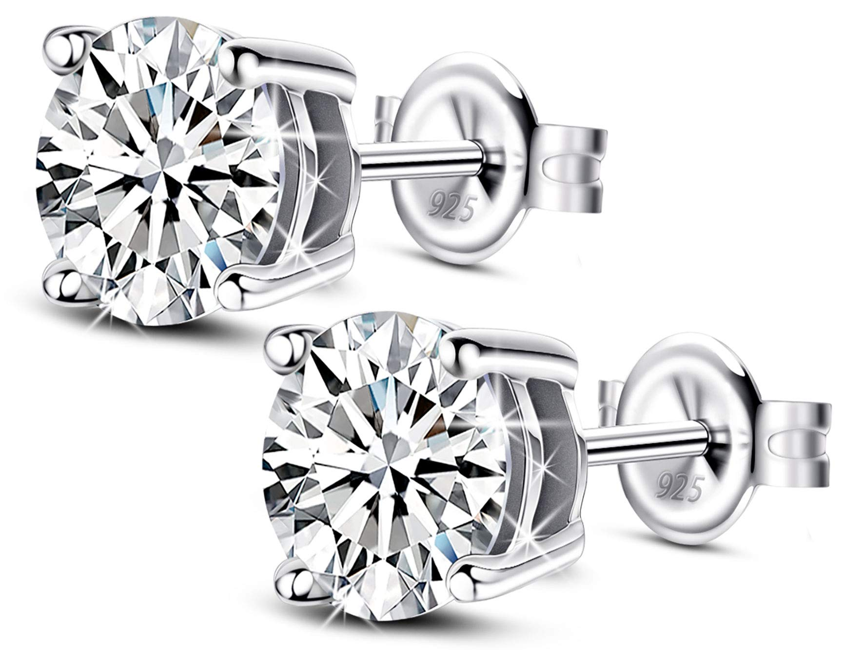 Jewlpire Stud Earrings 18K White Gold Plated Cubic Zirconia Earrings Hypoallergenic Sterling Silver Earrings for Sensitive Ears for Women & Girls (1 Pair) by Jewlpire