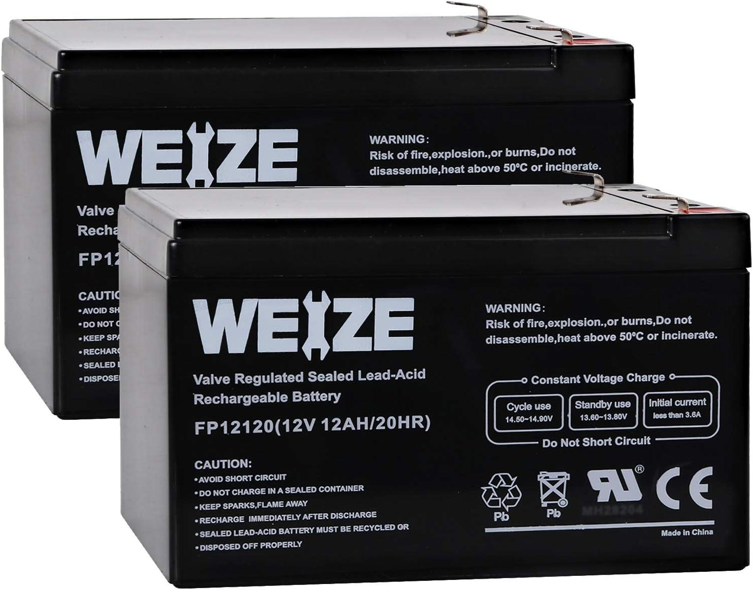 EXP1212 Weize 12 Volt 12AH SLA Rechargeable Battery Replace UB12120 GPS12-12F2 2 Pack LHR12-12 6FM12