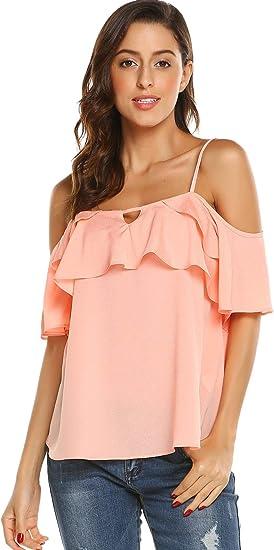 Dealwell Women Chiffon Cold Shoulder Cami Blouse Summer Spaghetti Strap Ruffle Top Shirts