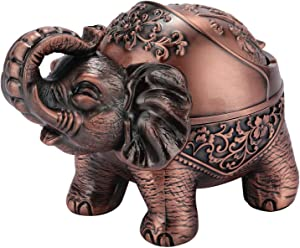Decorative Windproof Ashtray, Vintage Elephant Cigar Cigarettes Ashtray with Lid Odor Eliminator Hand Carved Lucky Elephant Unique Ashtray for Home Office Decor, Fancy Gift Ornament for Men (Red)