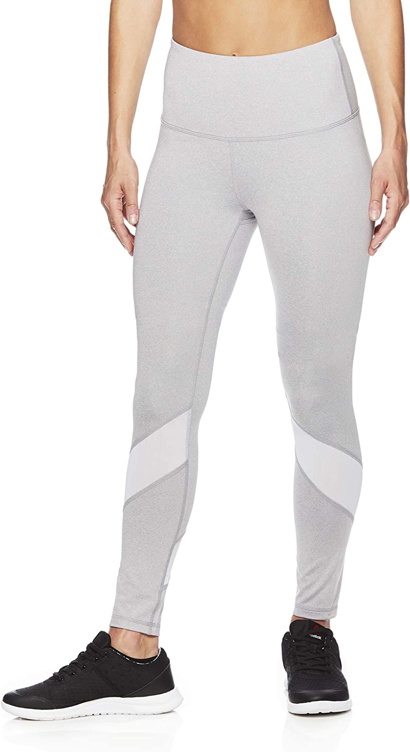 Amazon Com Reebok Women S High Rise Workout Leggings High Waisted Yoga Fitness Athletic Compression Pants Clothing
