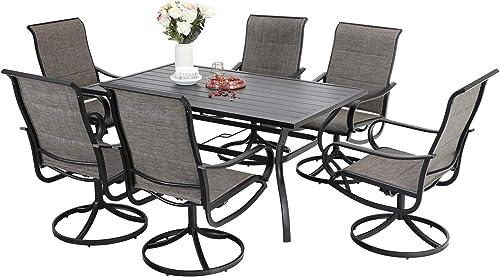 Sophia William Patio Dining Set 7 Pieces Outdoor Metal Furniture Set