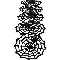 Qpout Halloween Table Runner, Black Spider Web, Spider