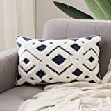 MIULEE Decorative Throw Pillow Cover Tribal Boho Woven Tufted Pillowcase Super Soft Delicate Elegant Pillow Sham Cushion Case for Sofa Couch Bedroom Car Living Room 12X20 Inch Navy Blue