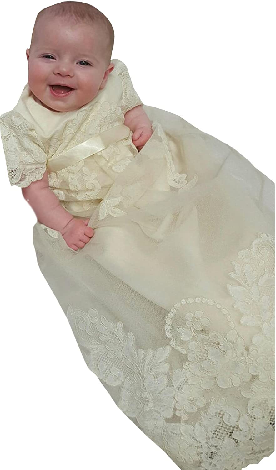 Newdeve Champagne Lace Infant Toddler Christening Gowns Long Unisex