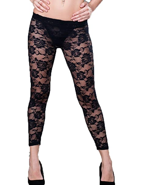 407735cda19a4 ohyeah Women's Floral Lace Legging See Through Sexy Pants One Size Black