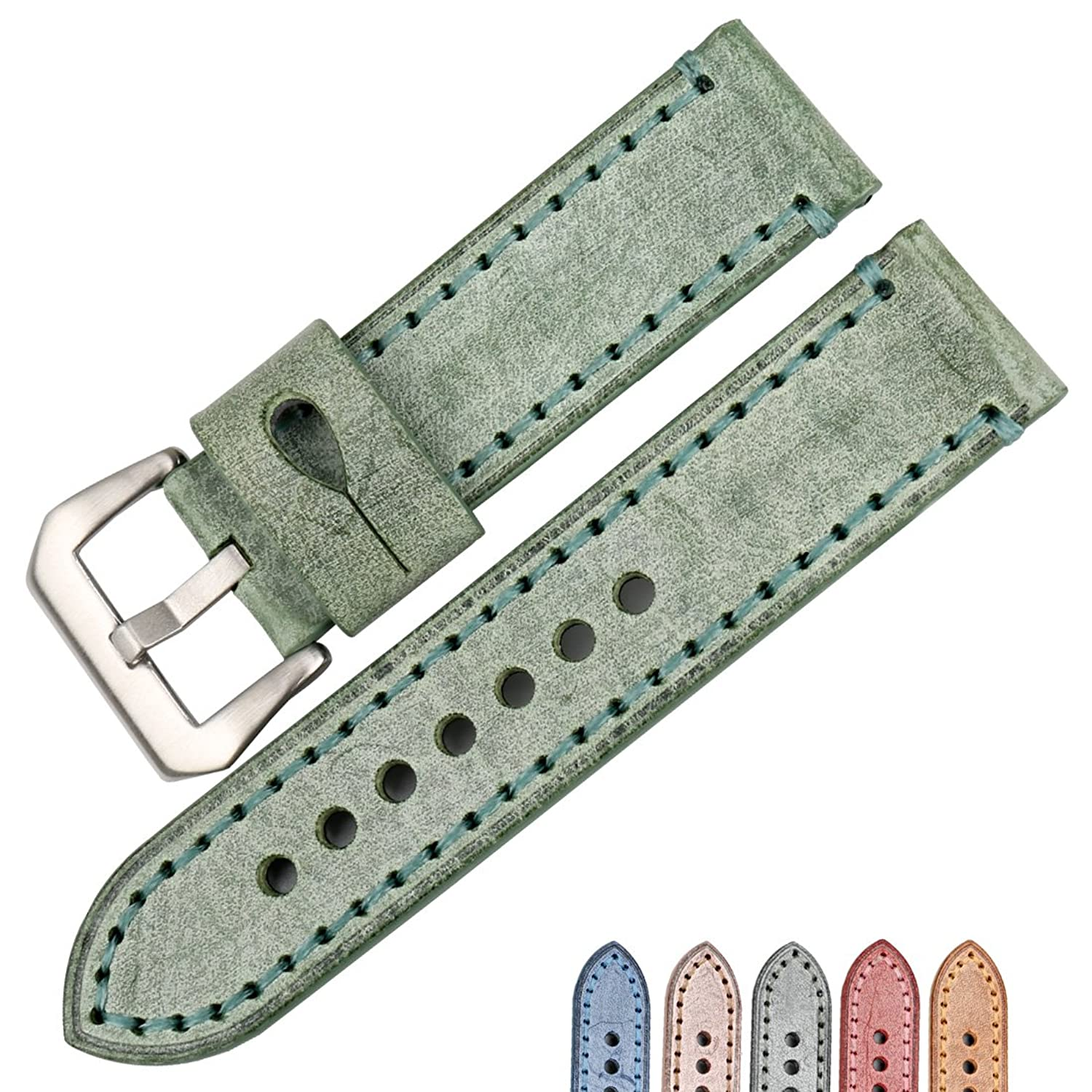 maikes Watchアクセサリー22 24 mmバンド英語Bridle Cow Leather Watch Band for Panerai腕時計ストラップ 22mm Green+Silver Buckle  Green+Silver Buckle 22mm B075ZQF83B