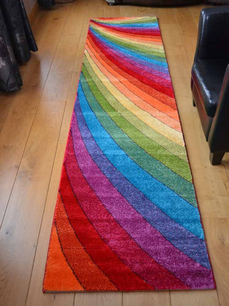 Candy Multicoloured Rainbow Design Rug Available In 6 Sizes 80cm X 150cm Co Uk Kitchen Home