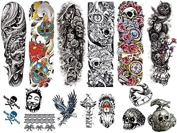 714fd8944 Amazon.com : 12 Temporary Sleeve and Body Tattoos (Black/White, Full ...