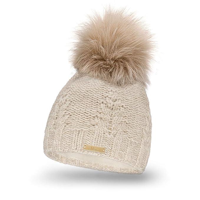 Mikos Bonnet fourré Hiver pour Femme - Bonnet tricoté avec Torsades et Gros  Pompon en Fausse Fourrure Laine Doublure en Polaire très Doux Fabriqué en  Union ... c007d75c4a2