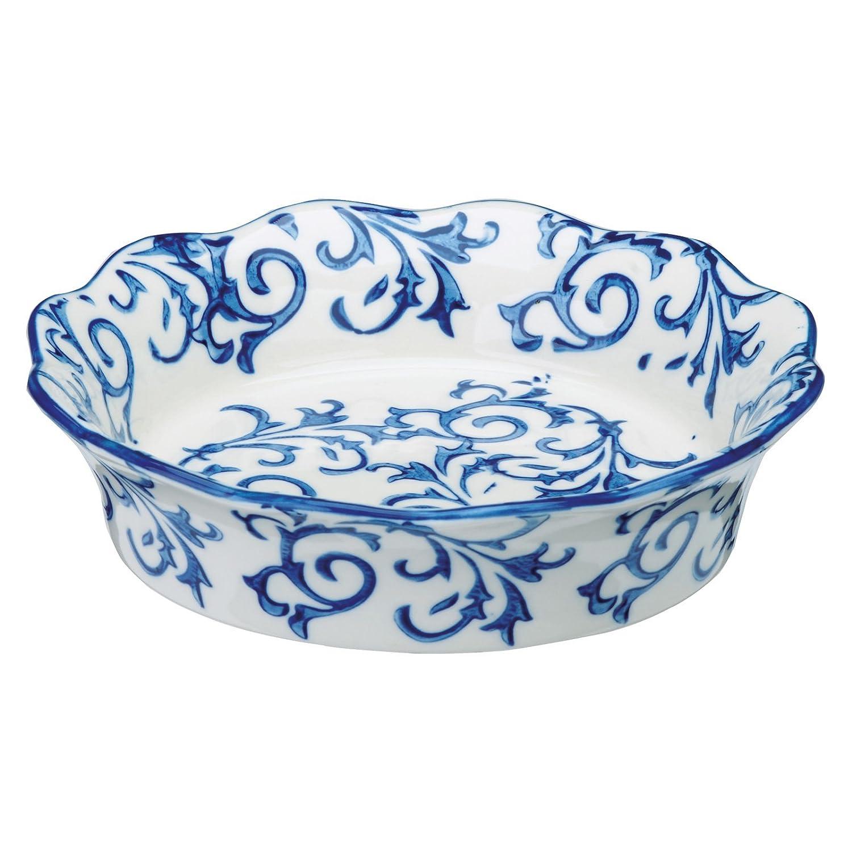 BIA Set of 4 Heritage Individual Pie Dishes Blue Ceramic 150x150x35 cm Blue /& White