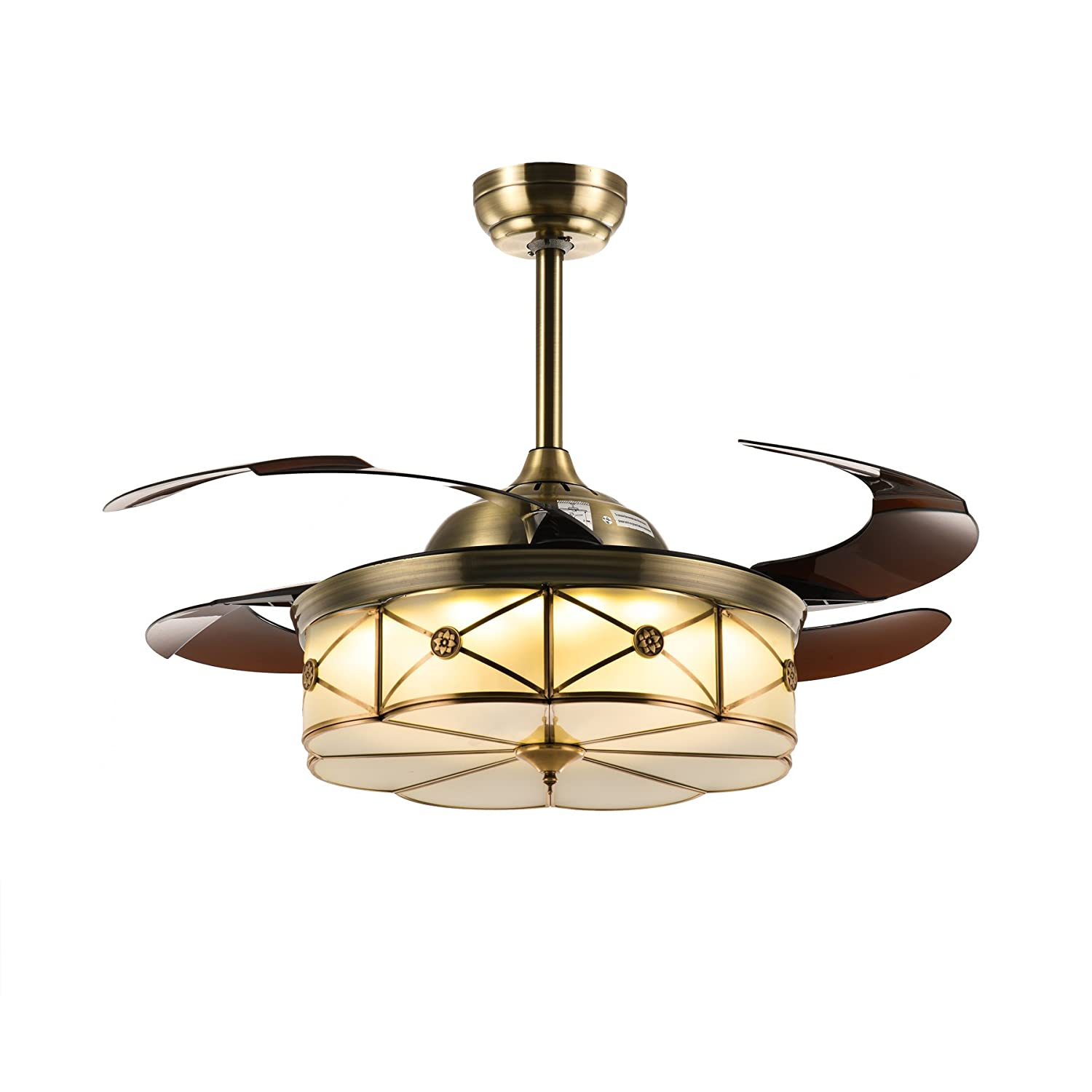 """Siljoy 42"""" Polished Brass Invisible Ceiling Fans with Lights and Remote Retractable Chandelier Fan Dimmable Bronze"""