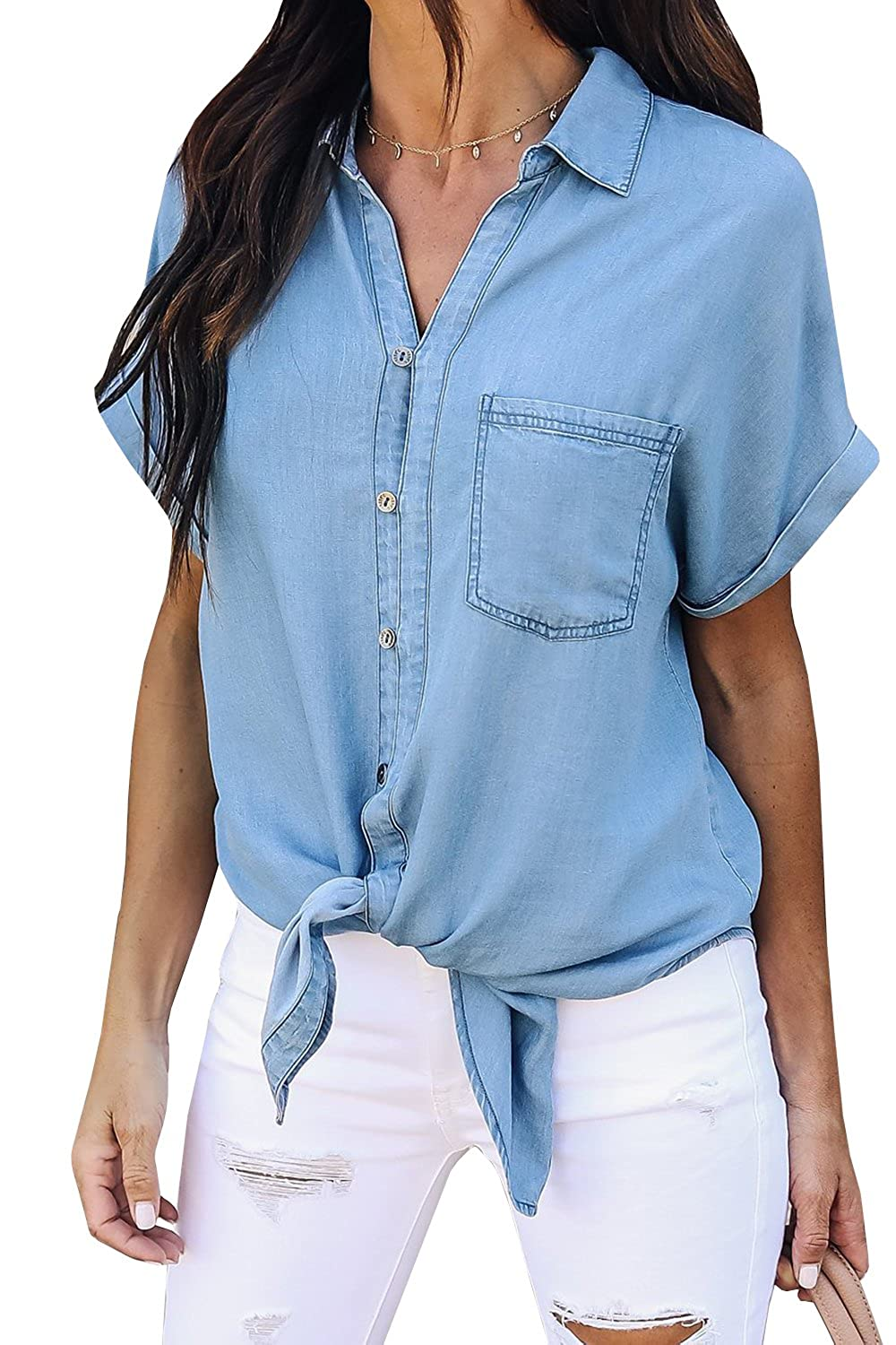 3c43a3465a6 PiePieBuy Women s Short Sleeve Denim Shirt Tops Button Closure Chambray  Shirts with Pockets at Amazon Women s Clothing store
