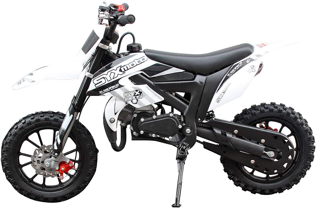 Fully Automatic Transmission SYX MOTO Kids Mini Dirt Bike Gas Power 2-Stroke 50cc Motorcycle Holeshot Off Road Motorcycle Holeshot Pit Bike 2018 Blue