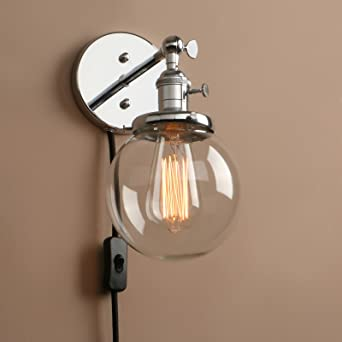 Pathson Industrial Vintage Wall Lights Plug In Sconce Lamp Fittings With Globe Clear Glass Lampshade