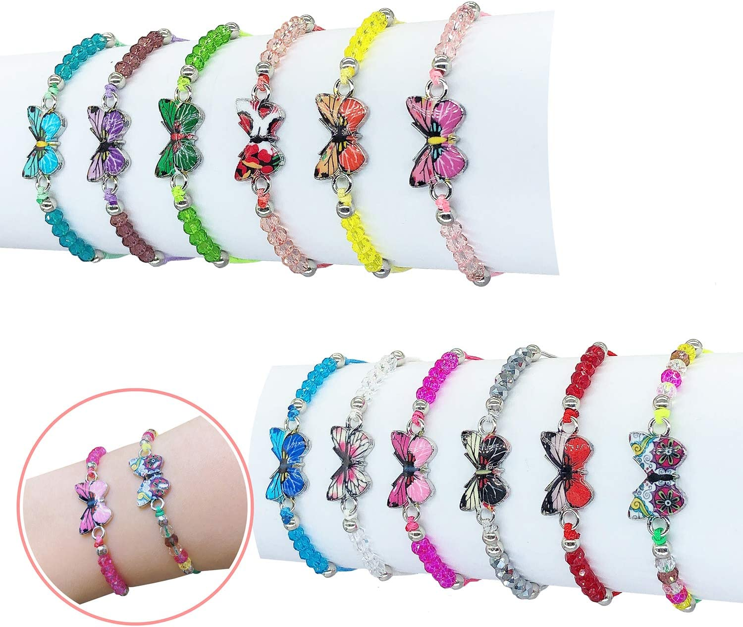 Elesa Miracle 12pc Women Girl Butterfly Woven Friendship Crystal Bead Bracelet Value Set Kids Party Favor Adjustable Bracelet