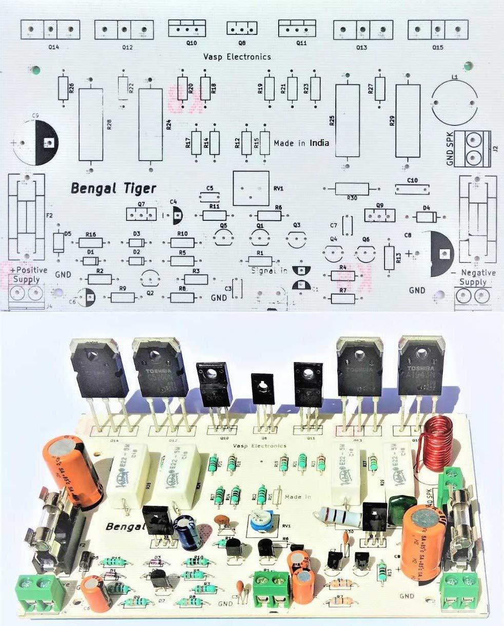 Vasp Electronics DIY - 250 Watt Audio Amplifier Board Using 2SC5200 2SA1943  Transistors Hobby Project - PCB Only - Pack of 2