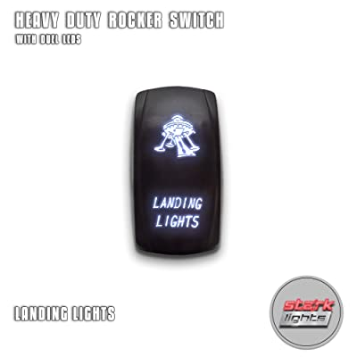 LANDING LIGHTS - White - Switch Dual Light - STARK Laser Etched LED Rocker - 20A 12V ON/OFF 5-PIN: Automotive