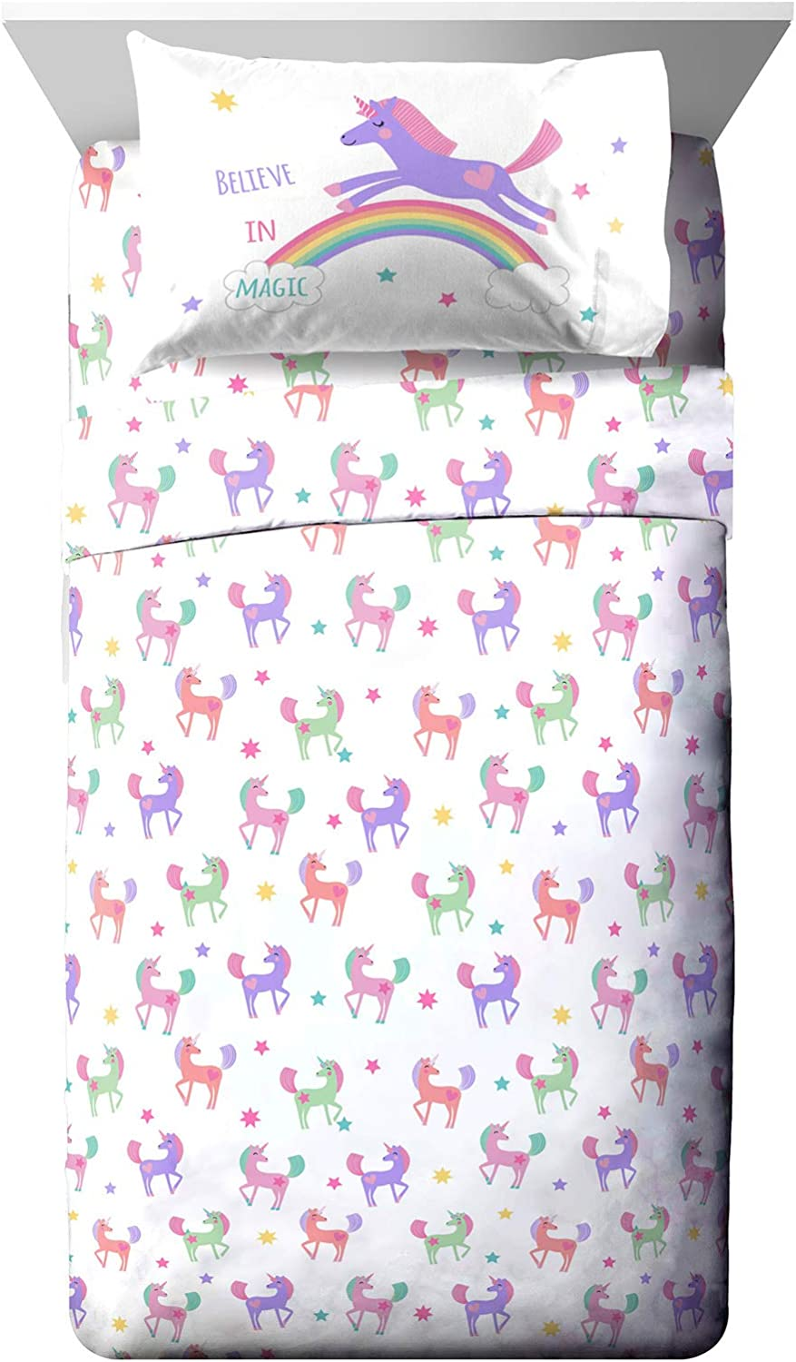 Jay Franco Trend Collector Believe Twin Sheet Set - 3 Piece Set Super Soft and Cozy Kid's Bedding - Fade Resistant Microfiber Sheets