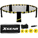 XGEAR Volleyball Game Set, Bouncing Balls Yard Game, Indoor Outdoor Toy Includes Upgraded Round Net, Unique Frame, Sturdy Leg