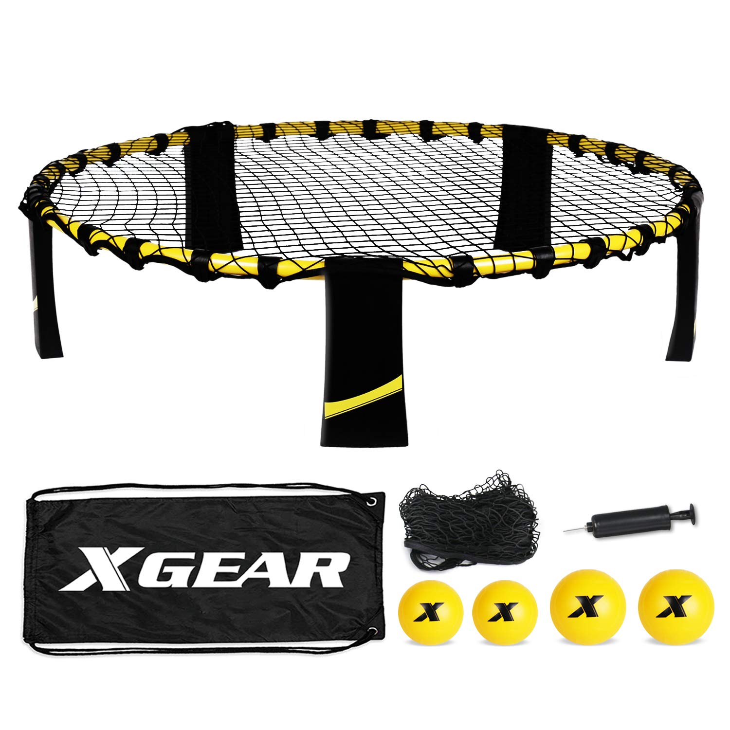 XGEAR Volleyball Spike Game Set, Bouncing Balls Yard Game, Indoor Outdoor Toy Includes Upgraded Round Net, Unique Frame, Sturdy Legs, 4 Balls (2pcs 3.5''/2pcs 4.7''), 1 Pump,1 Carry Bag- Fun for All by XGEAR