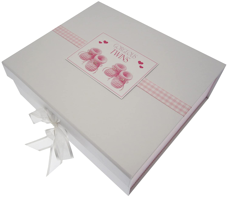 Mini Photo Album White Cotton Cards Gorgeous Twins Pink Booties