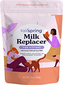 Tailspring Milk Replacer for Kittens, Powdered, 12oz, Made with Whole Goat Milk