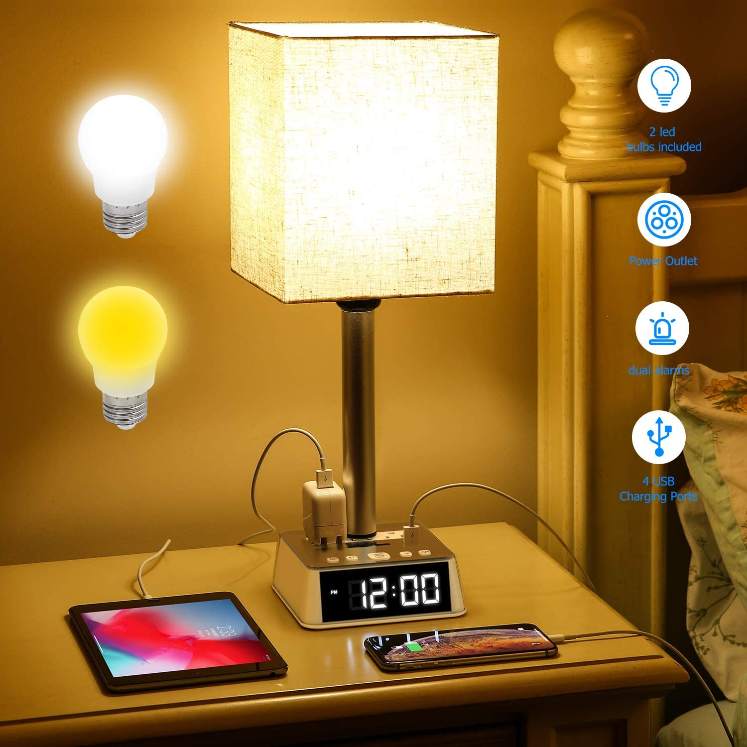 Table Lamp - Bedside Table Lamps with 4 USB Ports and AC Power Outlets, Alarm Clock Base with 6Ft Extension Cord, Square Oatmeal Fabric Lampshade Modern Accent Desk Lamp For Bedroom Living Room Office