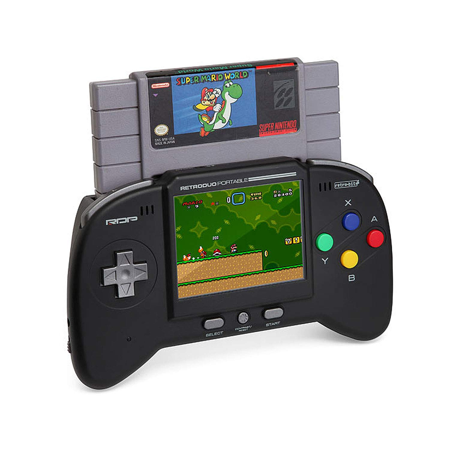 Retro-Bit RDP 2 in 1 Portable Handheld Console System - for NES and SNES Games - Black