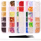 WOKOTO Mix-Color Nail Crystal And Rhinestones Set Mini Size Rubble Gems For Nails Colorful Rhinestones Manicure Nail Art Decoration Kit