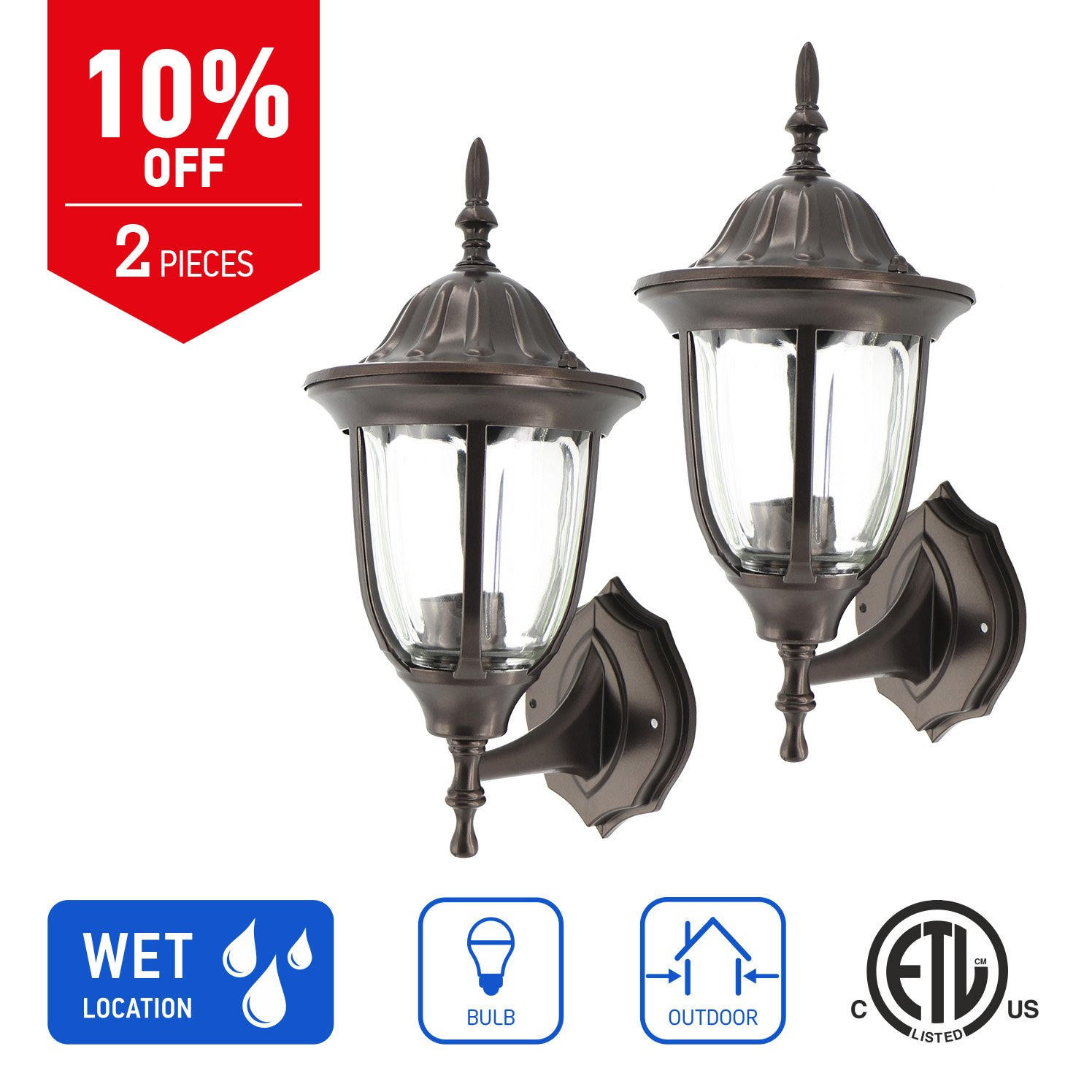in Home 1-Light Outdoor Wall Mount Lantern Upward Fixture L03 Series Traditional Design Bronze Finish, Clear Glass Shade (2 Pack), ETL Listed