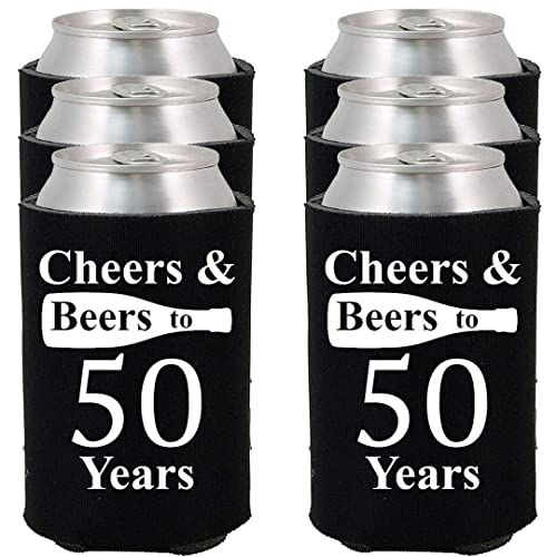 Shop4Ever Cheers Beers To 50 Years Can Coolie Birthday Drink Coolers Coolies Black