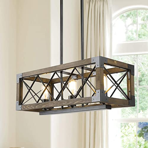 Island Light Fixtures,Rectangular Wood Farmhouse Chandelier for Dining Rooms, 3-Lights Kitchen Island Lighting