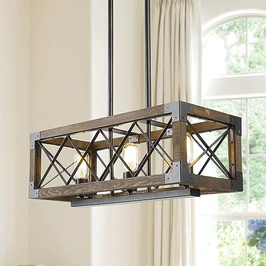 Island Light Fixtures,Rectangular Wood Farmhouse Chandelier for Dining  Rooms, 3-Lights Kitchen Island Lighting