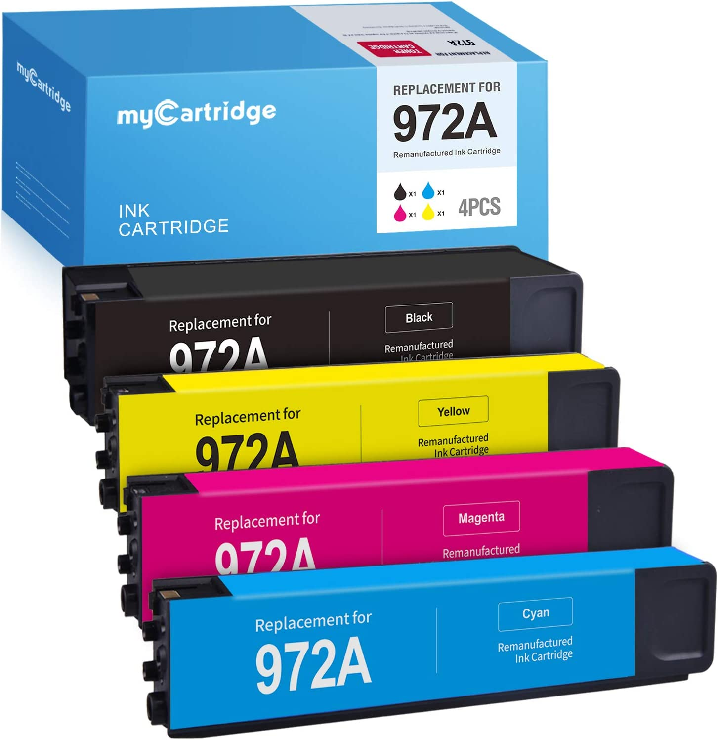 MYCARTRIDGE Remanufactured Ink Cartridge Replacement for HP 972 972A use with PageWide Pro 477dw 577dw 377dw 477dn 452dn 452dw 552dw Black Cyan Magenta Yellow (4-Pack)