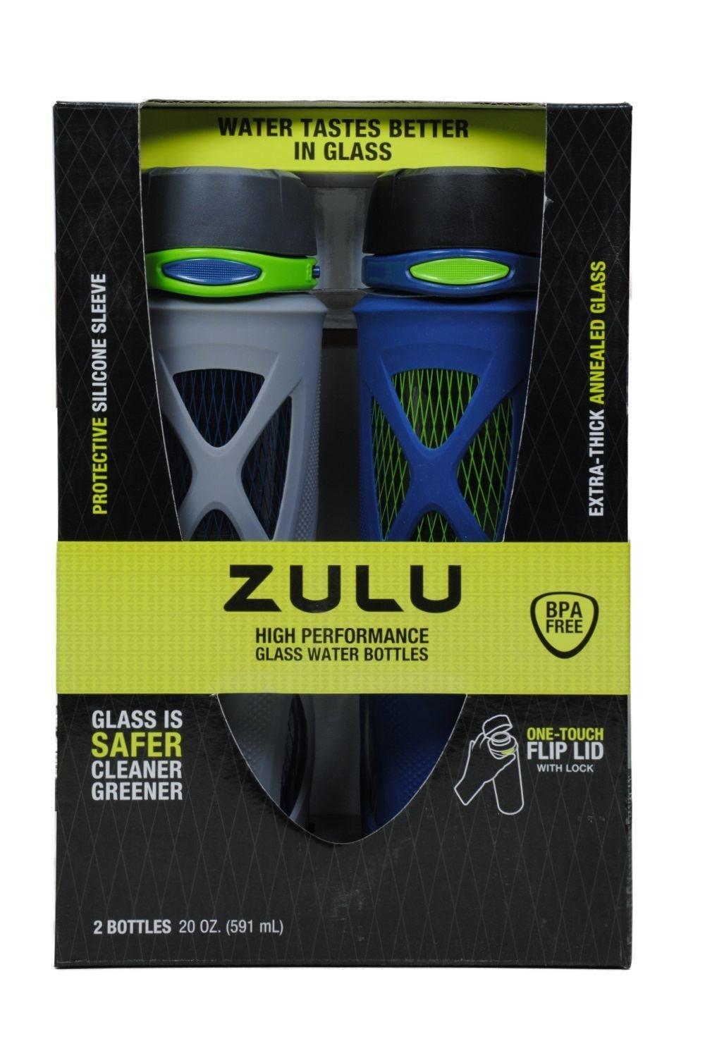 eff4d0c9712 Zulu 20oz High Performance Glass Water Bottles Blue