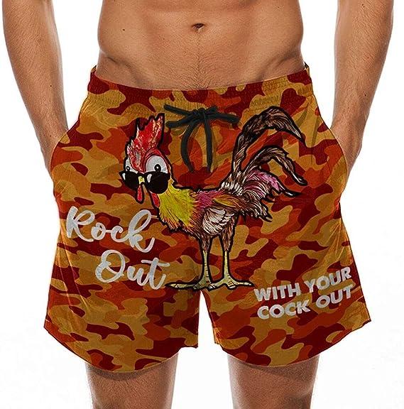 Mens Summer Holiday Drawstring Shorts Casual Cock Printed Beach Work Pants Trouser-Look at My Pecker,Look at IT!!!