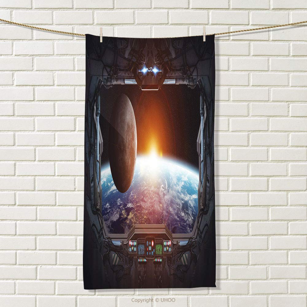 smallbeefly Outer Space Sports Towel Window View from Spaceship Station to Universe Celestial Discovery Fiction Art Absorbent Towel Grey Black Size: W 35.5'' x L 12''