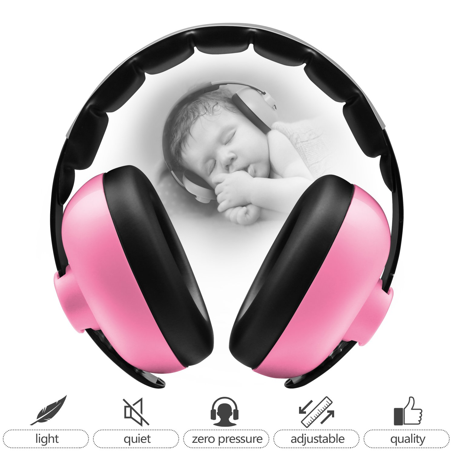 BBTKCARE Baby Headphones Noise Cancelling Headphones for Babies for 3 Months to 2 Years (Pink) BB8810
