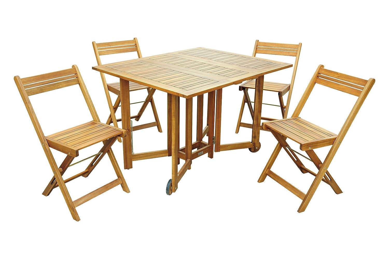 XXS® 5-teilige Gartengruppe, Balkongruppe aus Akazien-Holz, FSC® 100% zertifiziert, Sitzgruppe bestehend aus 1 x Tisch + 4 x Stuhl, geölt, Garten-Tischgruppe aus massivem Holz, klappbar [521401]