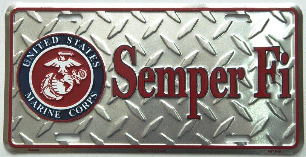 Marine-Diamond Front Novelty License Plate 6x12 AES Industries Semper Fi U.S