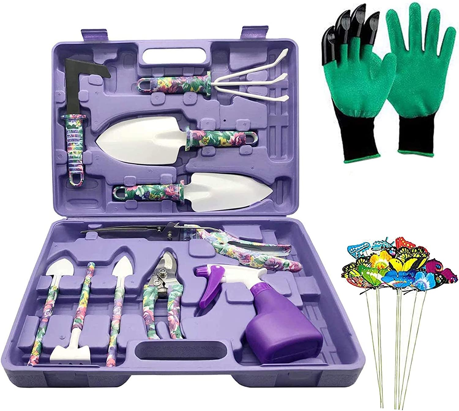 DM Gardening Tool Set, 35PCS Heavy Duty Aluminum Garden Tools Set for Women with Carrying Case, Ergonomic Handle Shovels, Rakes, Pruning Shears, Gardening Tools for Men(Purple Floral)