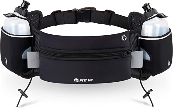 Upgraded Running Belt with Water Bottle Waist Bag with Adjustable Straps for Men and Women Running Hiking Climbing Waist Pack Large Pocket Running Fanny Pack Fits 6.5 inches Smartphones