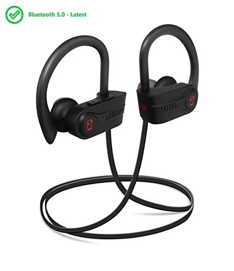 2535cf9f460 Vibes Audio Latest Bluetooth 5.0 Wireless Sports Headphones w/Mic IPX7  Waterproof Sweatproof HD Stereo