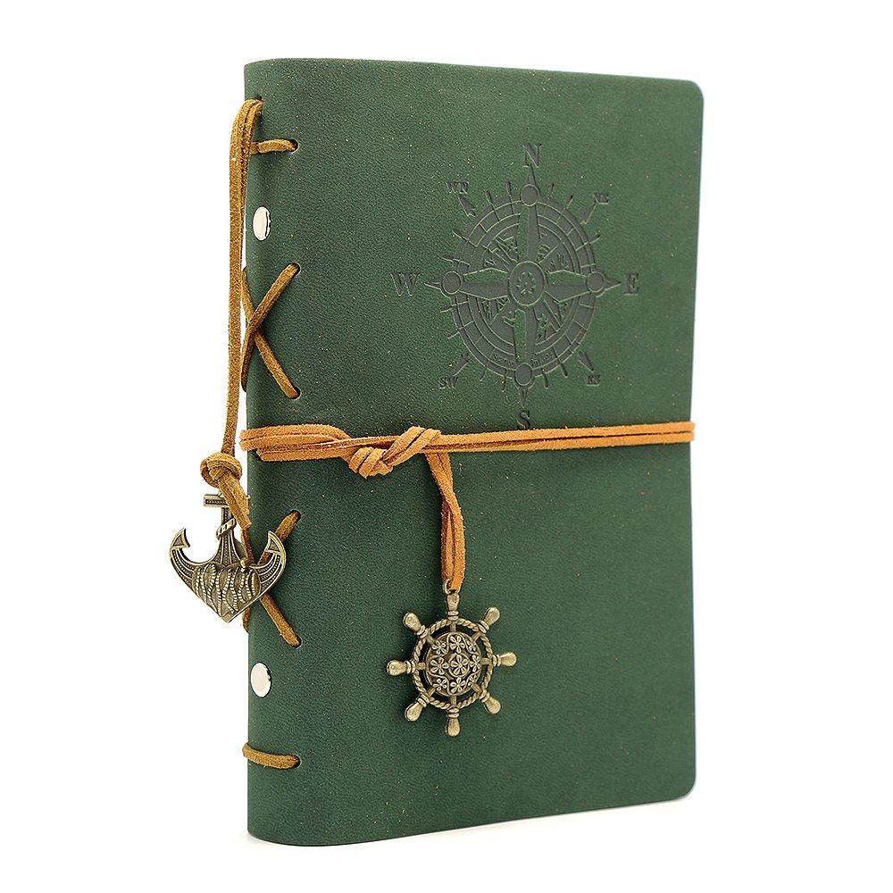 Diario con tapas de cuero estilo retro, verde oscuro (xmp)