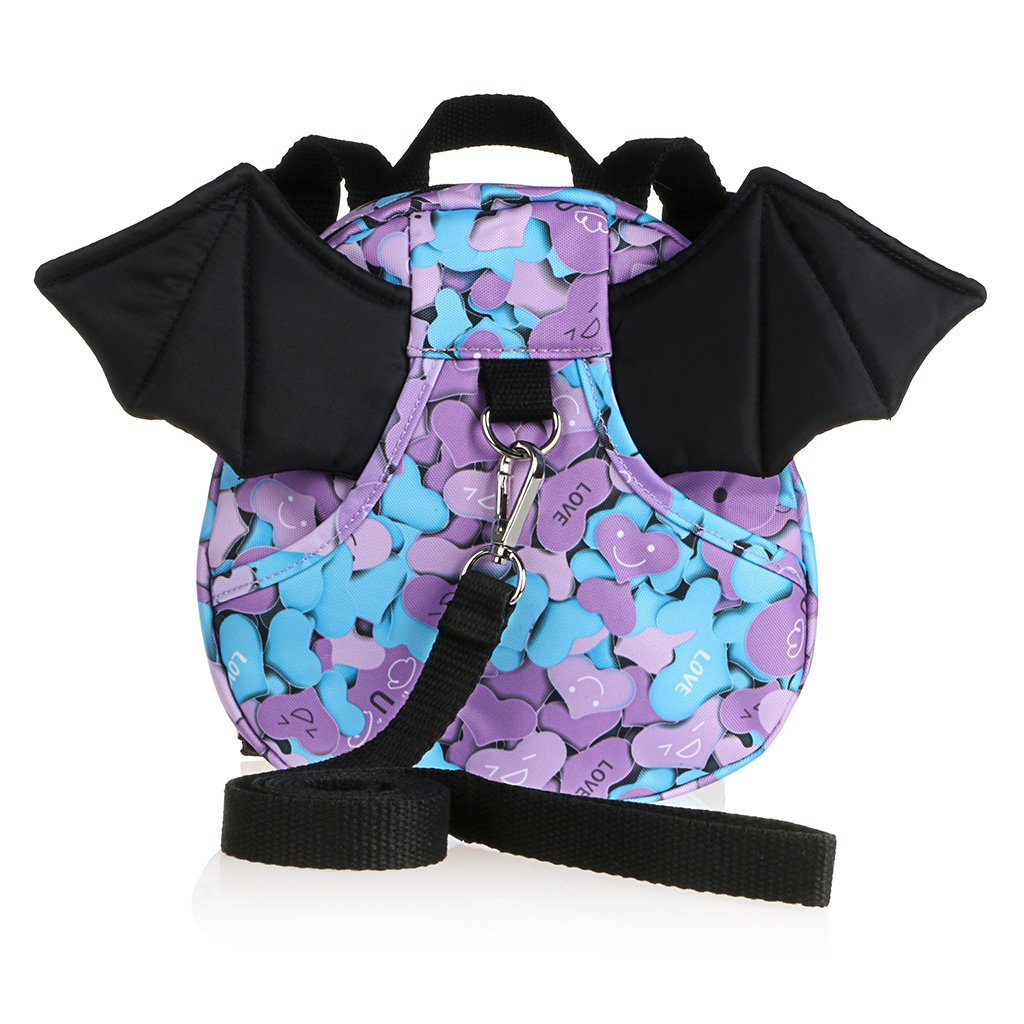Hipiwe Baby Toddler Walking Safety Backpack with Leash Little Kid Boys Girls Anti-lost Travel Bag Harness Reins Cute Mini Bat Backpacks for Baby 1-3 Years Old (Purple)
