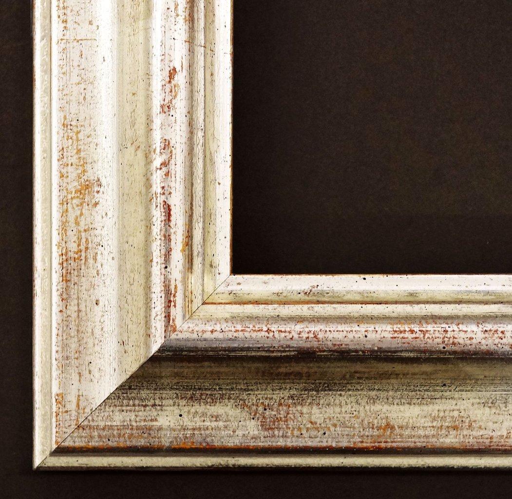 Spiegel Wandspiegel Badspiegel Flurspiegel Garderobenspiegel - Über 200 Größen - Miesbach antik Weiß - gold, handgrundiert 4,9 - Außenmaß des Spiegels DIN A0 (84,1 x 118,9 cm) - Über 100 Größen zur Auswahl - Wunschmaße auf Anfrage - Barock, Antik